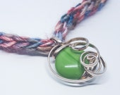 """OOAK Extra Soft Crocheted Yarn with Silver Wire Wrapped Green Glass Pendant 21"""" Necklace"""