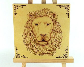 READY-to-SHIP SALE. Lion Art. Wood Wall Art. Wall Hanging. Pyrography Art. Unique Gift. Nature. Wildlife Art. Birthday Gift. Animal Lover