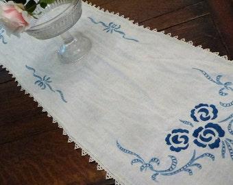 Long Blue & Cream Table Runner Blue Flowers, Country Blue Table Runner Mantle Cover