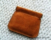 100% hand stitched handmade  tan cowhide suede leather flex frame pouch for Coin,Trinket, Jewelry, Cord, Ear buds, ipod, etc.