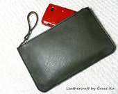 reserved for Nate--2 items-- 100% hand stitched handmade olive green cowhide leather multipurpose pouch and pen case