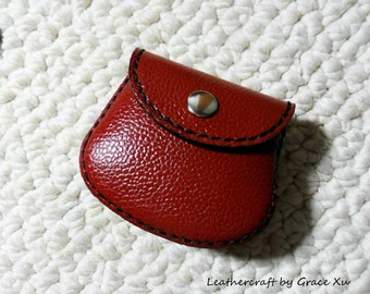 100% hand stitched handmade dark red cowhide leather Ipod, ear buds, coin, trinket, jewelry,case / pouch