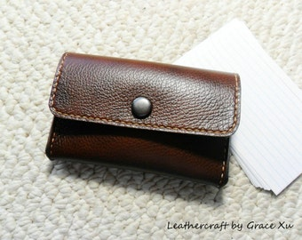 """100% hand stitched walnut brown cowhide leather 4"""" x 6"""", 3""""x 5"""" index cards, 2"""" x 3.5"""", 2.5""""x2.5"""" business cards, credit cards holder / case"""