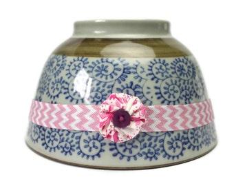Baby Girls Elastic Headband - Size Newborn - Yoyo Flower & Button - Pink White Chevron Elastic