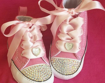 Baby Converse, Pink Crib Shoes, Bling Crystals, Satin Laces, Sparkle Heart, Sizes 1-4, Infant Sneakers