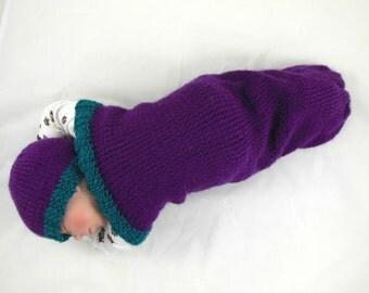 Cocoon, Sleep Sack, Sleep Bag, Blanket, Wrap in Purple & Teal