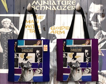 Miniature Schnauzer Art Tote Bag - The Man with the Golden Arm Movie Poster   Perfect DOG LOVER Gift for Her Gift for Him