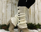 Leg warmers button down,lace boot cuff, boot socks womens, legwarmers lace womens knit leggings, boot cuff socks, boho, rustic, country LW14