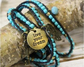 Bracelet, boho, wrap, beaded, charms, bohemian, hippie, inspirational, heart, dream, skeleton key, jewelry, rustic, southwestern | WB1