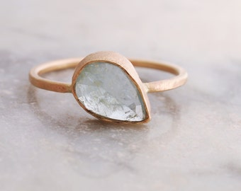 Aquamarine Ring. Aquamarine Engagement Ring. Gold Ring. Eco Friendly Jewelry. Alternative Engagement Ring.