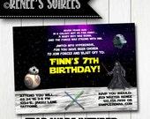 Custom GALAXY Birthday Invitation - Printable Star Wars Invite - Personalized DIY