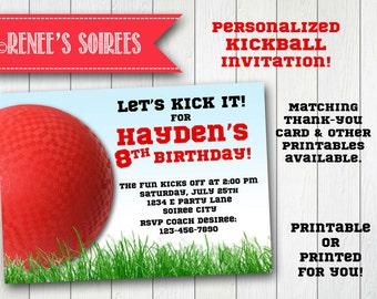 KICKBALL INVITATION - Printable Birthday Invite - Personalized DIY - also Sports Banquet or Baby Shower invitation
