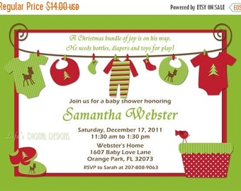 Christmas Baby Shower Invitations Baby Clothes on Clothesline Customizable Printable