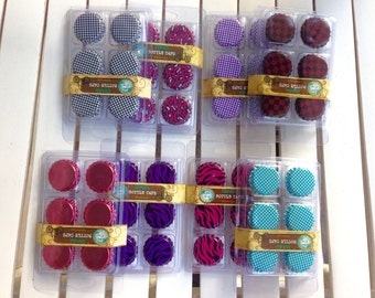 Bottlecaps, pkg of 6, multicolor, multi patterned, mixed media collage, jewelry making, scrapbooking, clip for a planner, assemblage