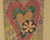 Heart Love Birthday Mom Friend Postcard -MADE TO ORDER- Flower Frame Gift Thank You Family Fabric Postcard Art Quilt Fabric Appliqued 4x6