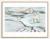 11x14 Poster, Polar Bear and Cubs, from Original Watercolour Illustration
