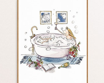 8x10 Poster, Bathtub Bubbley, from Original Watercolour Illustration