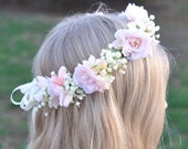 Blush Pink Roses, Hydrangea, Ivory Babies Breath Wreath, Halo, Floral Crown for your Flower Girl, or your Bridal Headpiece.