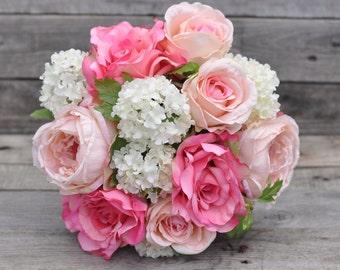Pink Cabbage Rose Bride Bouquet, Faux Flowers, Silk Flowers, Wedding Flower, Destination Wedding, Bridal Bouquet, Hydrangea