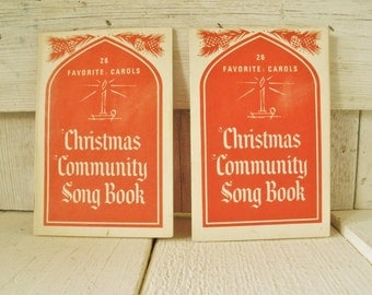 Two vintage Christmas carols song books pocket size 1950s