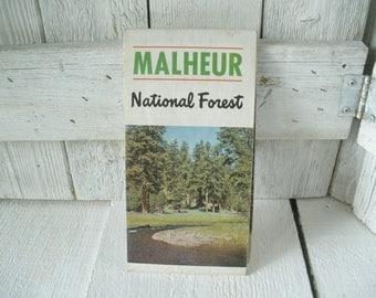 Vintage Oregon map Malheur National Forest hiking camping folded topographical 1972