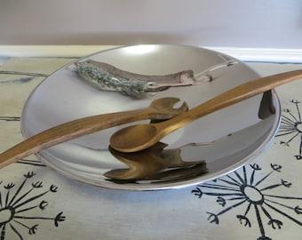 Chrome Salad Bowl with Wooden Utensils Serving Bowl Modern Bowl Chrome Kitchen Retro Kitchen