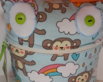 Funky Monkey rainbow and hearts monster Handmade with love by Sesamecrunch