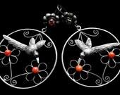 Filigree flying hummingbird earrings