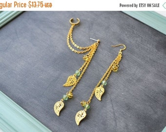 VALENTINES DAY SALE Gold Leaves with Gold and Amber Beads Double Chain Ear Cuff (Pair)