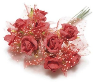 Paper Roses with Veil 72 pcs Red