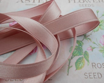 """Ribbon Satin Double Face Antique Pink 3/8""""width 10 yds"""