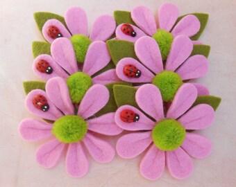 Felt Flowers Pink Appliques 6 pcs