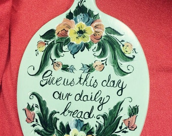 "Norwegian Rosemaling -- Bread Board -- Hand Painted Light Green Background.-- ""Give Us This Day Our Daily Bread"""