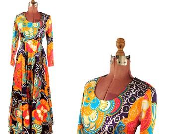 Vintage 1970's Bright Mod Hippie Floral Nylon Massive Sweep Maxi Festival Op Art Print Dress M