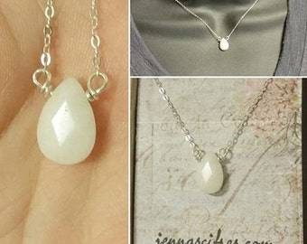 White Jade Necklace - Tear Drop on Sterling Silver Necklace - Beautiful Cut Gemstone Jade - Jade Necklace - White Jade Jewelry