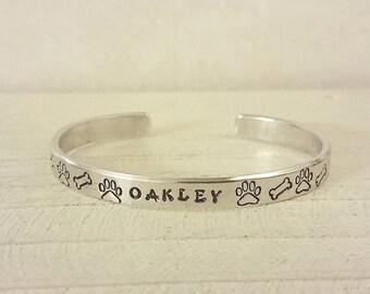 Pet Memorial Bracelet - Paw Prints, Hearts, Dog Bones - You Choose - Dog Lover Cuff Bracelet - Pet Memorial Jewelry