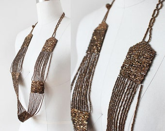 1920s Beaded Necklace / 1920s Copper Necklace / Seed Bead Necklace / Art Deco Jewelry