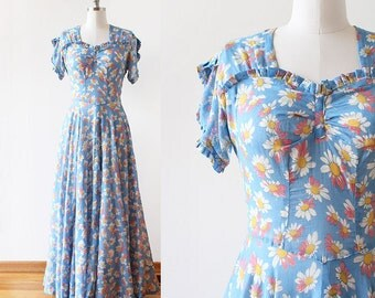 1930s Maxi Dress / Floral Maxi Dress / 1930s Dress / 1930s Floral Dress / early 1940s Dress / Medium / 28 Waist / Blue Floral Dress / Flower
