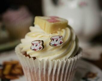 Teacup pink earrings, wooden laser cut