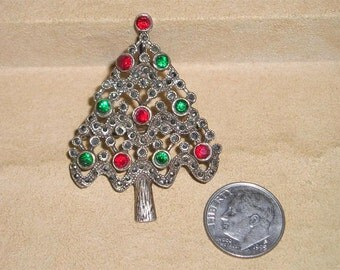 Vintage Sterling Silver Christmas Tree Pin With Red Green Rhinestones And Marcasites 1960's Jewelry Brooch 1019