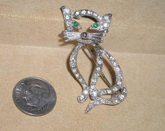 Vintage Green Eyed Rhinestone Cat Brooch Pin 1970's Jewelry Pin 2266
