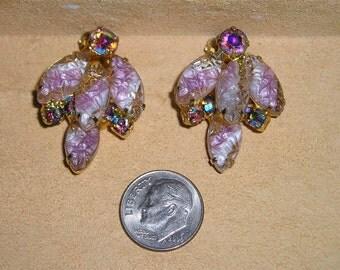 Vintage Juliana Art Glass And Iridescent Rhinestone Clip On Earrings 1950's Jewelry 6006