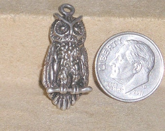 Vintage Sterling Silver Signed Ott Owl Charm Pendant 1970's Signed Jewelry 2280