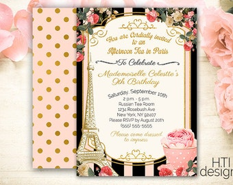 Paris Themed  Invitation- Tea Party Parisian Invitation- Paris Invitation- Birthday- French Invitation- Eiffel Tower- Roses- Printable