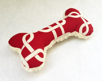 Squeaky Plush Dog Bone Toy, Red and White Geometric Lattice Print with Soft Fleece Backing
