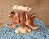 Vintage Squirrels hanging on a Tree Salt & Pepper Shakers - kitcsh funky retro pair squirrel decor Japan