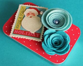 Christmas Gift Card Holder/ Keepsake Mini Altered Tin, Vintage Santa