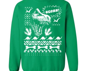 Dinosaur Christmas Sweater Trex Ugly Christmas Sweater Fleece Pullover Sweatshirt - S M L Xl 2X