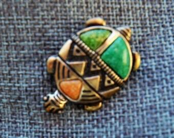 Vintage Carolyn Pollack Sterling Silver Turtle Brooch/Pendant