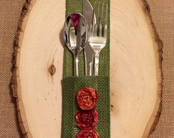 Acid Green Burlap Silverware Holder with aged fabric flower - Set of 4